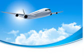 Travel background with an airplane and white clouds Vector