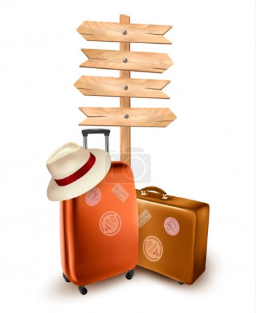 Illustration for Two travel suitcases and a direction sign. Vector illustration. - Royalty Free Image