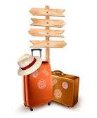 Two travel suitcases and a direction sign Vector illustration