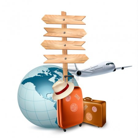 Two travel suitcases, a plane, a globe and a direction sign. Vec