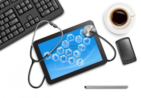 Tablet screen with medical icons and stethoscope on the table at