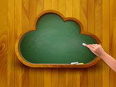 Chalkboard in a shape of a cloud E-learning concept Vector