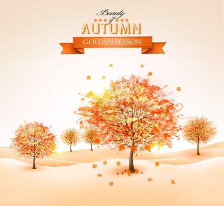 Ilustración de Autumn background with colorful leaves and trees.Vector illustration. - Imagen libre de derechos
