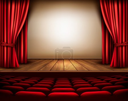 A theater stage with a red curtain, seats. Vector....
