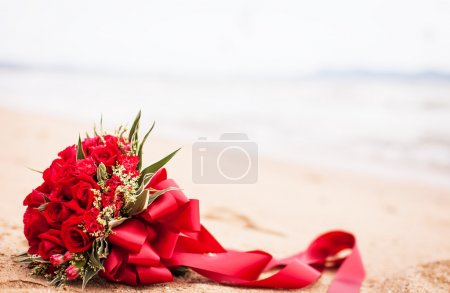 Bride bouquet on a beach