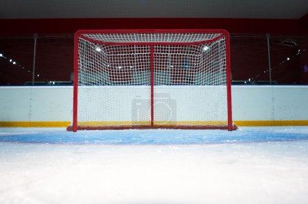 Hockey goal on ice rink