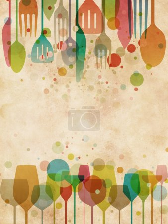 Photo for Beautiful background for food and drink designs with elegant, stylized illustration of glasses and utensils on vintage texture - Royalty Free Image