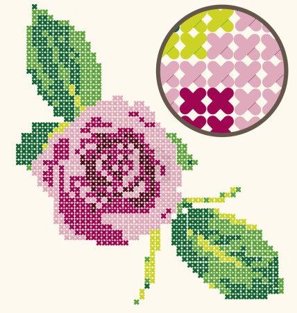 Photo pour Point de croix créé numériquement avec une belle rose - VERSION RASTER - image libre de droit