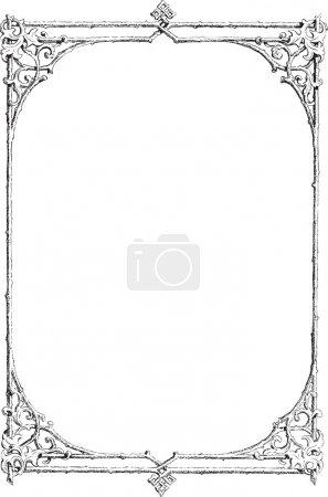 Illustration pour Beau cadre floral décoratif, élément design art nouveau - image libre de droit