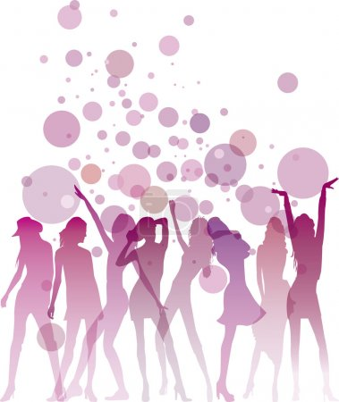Illustration for Dancing woman silhouettes with bubbles and copy space - Royalty Free Image