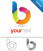 Modern vector design element with the letter b in lower case folded colorful paper concept