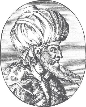 Engraved portrait of Sultan Orhan Gazi