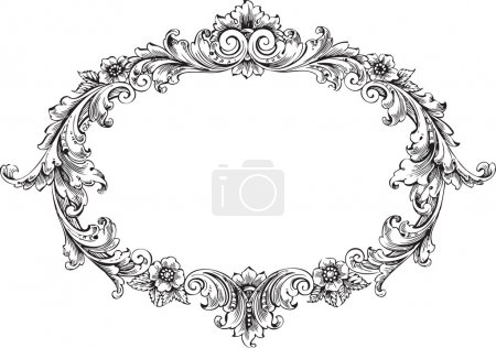 Illustration for Vector art of victorian frame isolated on white - Royalty Free Image