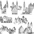 Drawing or engraving collection of medieval buildi...