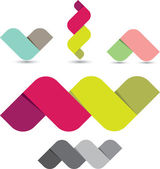 Abstract colorful ribbon icon set