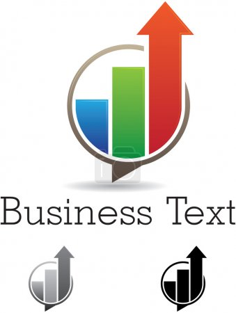 Illustration pour Symbole vectoriel abstrait de barres ascendantes colorées dans une bulle vocale avec des versions noires et grises - image libre de droit