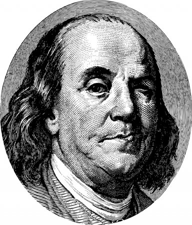 Illustration for Benjamin Franklin winking portrait from US dollar bill - Royalty Free Image