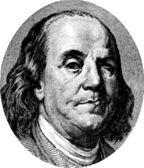 Benjamin Franklin winking portrait from US dollar