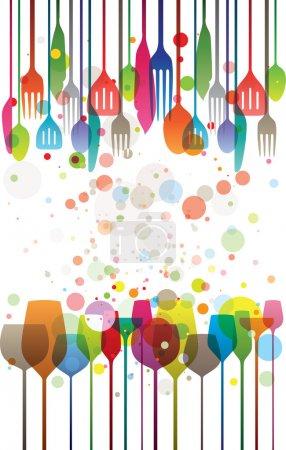 Illustration pour Illustration colorée de verres et ustensiles - image libre de droit