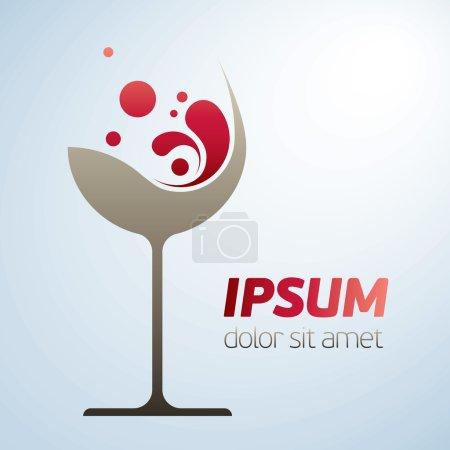 Illustration pour Symbole vectoriel abstrait en verre de vin avec des fleurs stlylizées - image libre de droit
