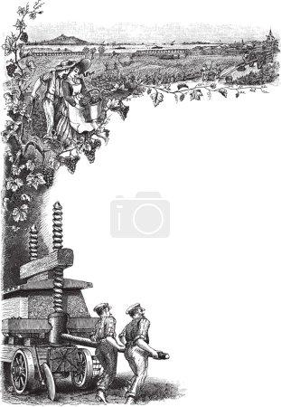 Illustration pour Illustration détaillée du cadre gravé des ouvriers du vignoble - image libre de droit