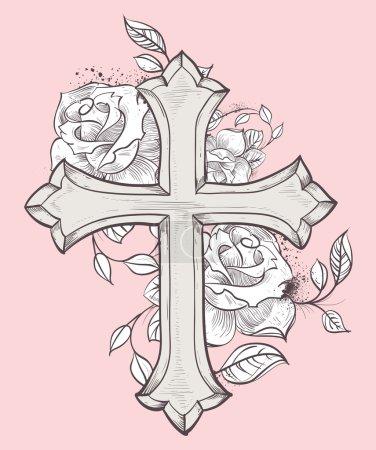 Illustration pour Belle illustration vectorielle avec croix dessinée à la main et roses - image libre de droit