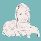 Girl Holding Video Camera