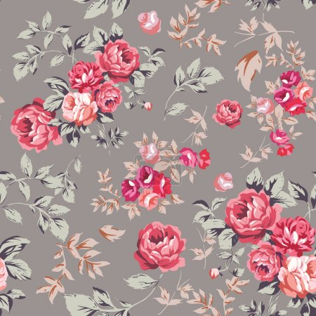 Illustration for Decorative seamless pattern with beautiful shabby roses - Royalty Free Image