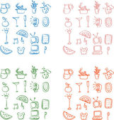 Set of home and entertainment related doodle icons with four different styles