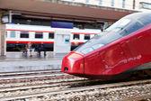 European high-speed train on railway station