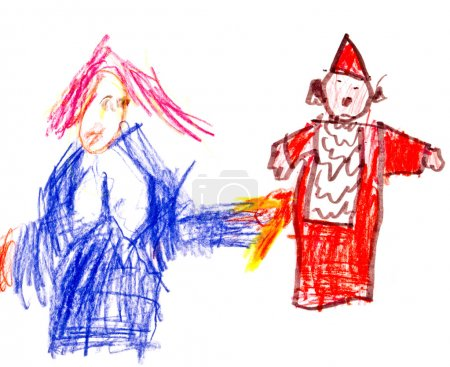 child's drawing - two clowns