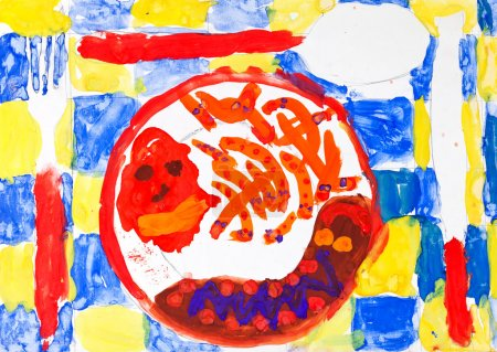 Child's painting - table set