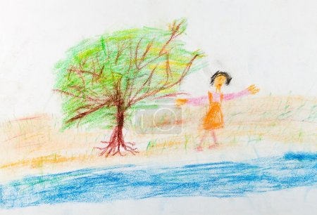 child's drawing - merry girl near river