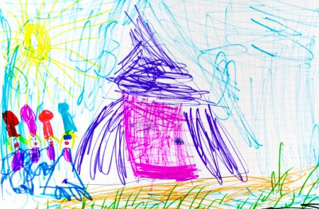child's drawing - pink hut and dwarf