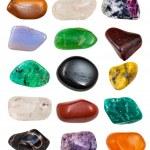 Set of semi-precious stones isolated on white back...