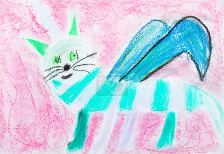 children drawing - striped cat with wing