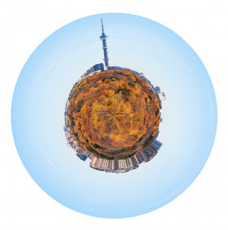 Little planet with yellow autumn forest and houses