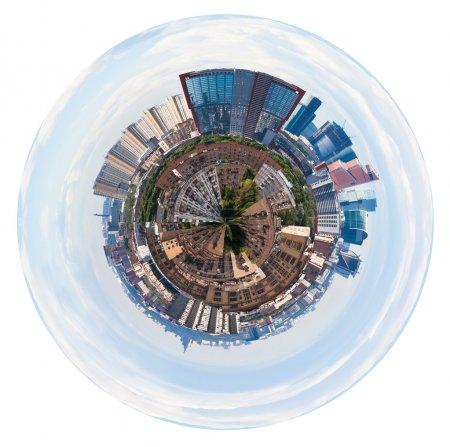 Photo pour Petite planète - urbain photographie panoramique de Moscou avec les bâtiments de tour isolé sur fond blanc - image libre de droit