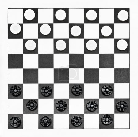 Top view of starting position on 8x8 vinyl checker...