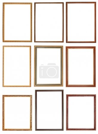 Set of decorative narrow wooden picture frames