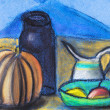 Children drawing - still life with black jug and r...
