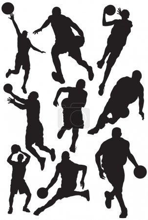Vector silhouettes of basketball players