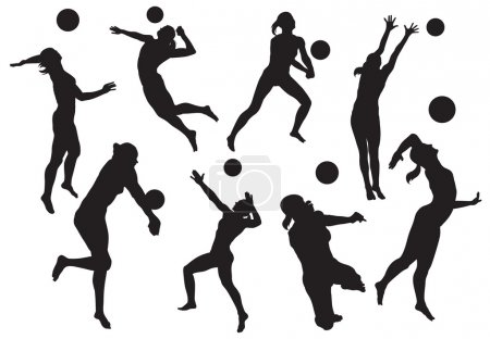 Vector silhouettes of women's beach volleyball...