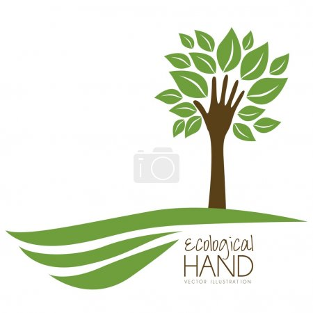 Illustration for Illustration recycling, hand forming a tree with leaves, helping nature, vector illustration - Royalty Free Image
