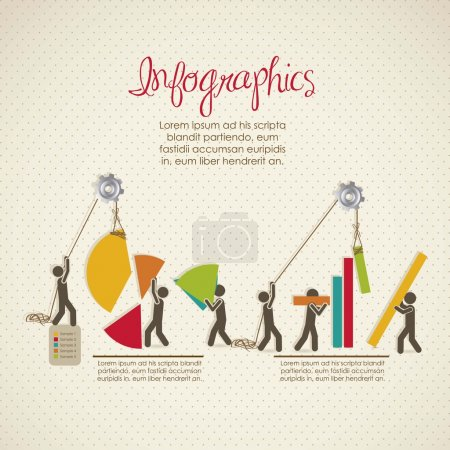 Illustration for Infographics, building with bars silhouettes, vector illustration - Royalty Free Image