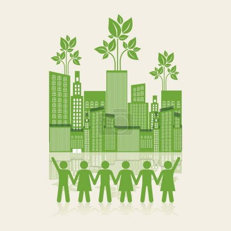 Illustration for Illustration of an ecological city with silhouettes of holding hands, concept work for the city, vector illustration - Royalty Free Image