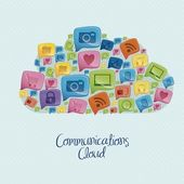 Illustration of social networking icons forming a communications cloud vector illustration
