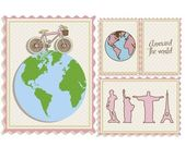 Postal bike trip and illustrations of cities arround the world vector illustration