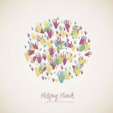 Illustration for Illustration of many color hands, concept of diversity, vector illustration - Royalty Free Image
