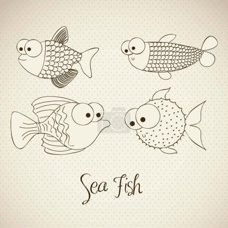 Illustration of fish and blowfish, fish Drawings, ...